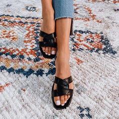 Mulheres PU Sem salto Sandálias Peep toe com Cor sólida sapatos