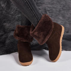 Women's Suede Flat Heel Mid-Calf Boots Snow Boots With Buckle shoes