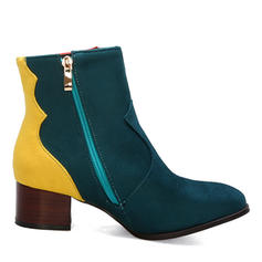 Women's Leatherette Chunky Heel Boots Mid-Calf Boots With Zipper Split Joint shoes
