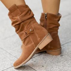 Pentru Femei Piele de Căprioară Toc gros Cizme cu Cataramă Fermoar Culoare solida pantofi