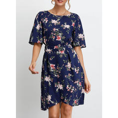 Print/Floral 1/2 Sleeves A-line Knee Length Casual Dresses
