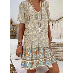 Print/Floral Short Sleeves Shift Knee Length Casual/Vacation T-shirt Dresses