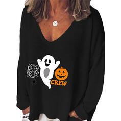 Print V-hals Lange Mouwen Halloween T-shirts