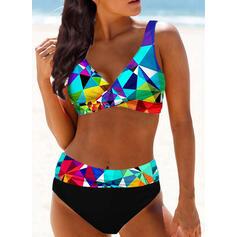 Plaid Splice color Strap V-Neck Sexy Boho Bikinis Swimsuits