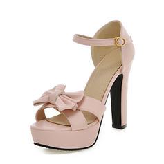 Női Műbőr Chunky sarok Magassarkú Emelvény -Val Csokornyakkendő cipő