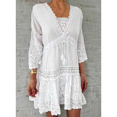Lace/Solid 3/4 Sleeves Shift Above Knee Casual/Elegant Tunic Dresses