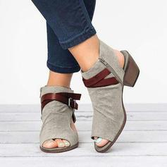 Dla kobiet Zamsz Obcas Slupek Sandały obuwie