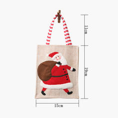 щасливого Різдва Сніговик Олені Санта Подарунковий мішок Льон Сумки для яблук