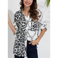 Patchwork leopardo Risvolto Maniche lunghe Bottone Casuale Shirt and Blouses