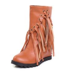 Femmes Similicuir Talon compensé Bout fermé Compensée Bottines chaussures
