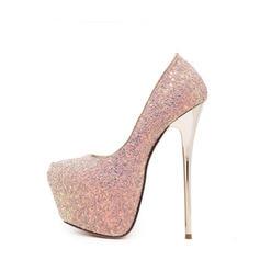 Vrouwen Sprankelende Glitter Stiletto Heel Pumps Plateau Closed Toe schoenen
