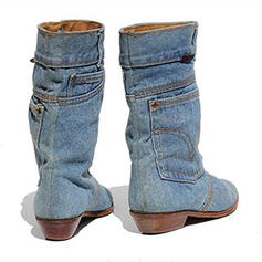 Women's Fabric Low Heel Boots With Others shoes