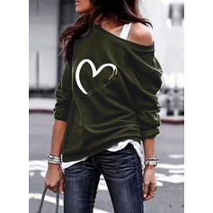 Print Hart One Shoulder Lange Mouwen Sweatshirts