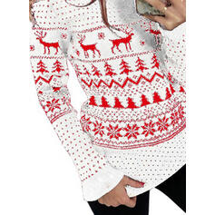 Animal Print Round Neck Casual Christmas Sweaters