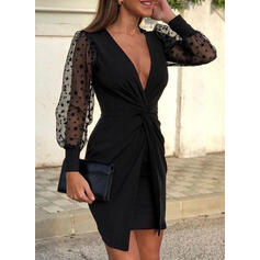 Solid Long Sleeves/Lantern Sleeve Bodycon Above Knee Little Black/Party/Elegant Dresses