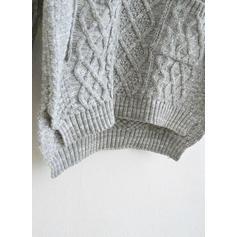 Einfarbig Zopfmuster Taschen Rundhalsausschnitt Pullover