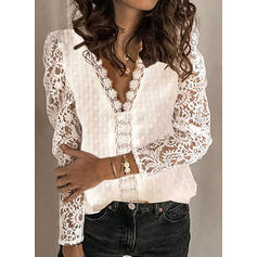 Solid Lace V-Neck Puff Sleeves Long Sleeves Casual Elegant Blouses