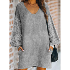Solid Pocket V-Neck Casual Long Sweater Dress