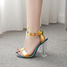 Women's PVC Stiletto Heel Sandals Pumps With Buckle shoes