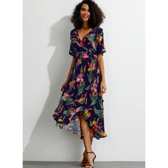 Print/Floral Short Sleeves/Flare Sleeves A-line Midi Casual Dresses
