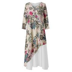 Print/Floral 3/4 Sleeves Shift Casual/Boho/Vacation Maxi Dresses