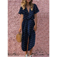 Groszki Krótkie rękawy W kształcie litery A Casual/Wakacyjna Midi Sukienki