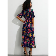 Print/Floral Short Sleeves/Flare Sleeves A-line Casual/Boho/Vacation Midi Dresses