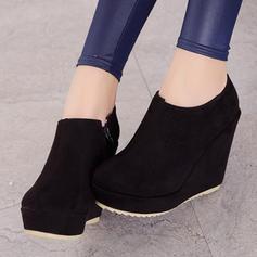 39ddf4c4de7 [US$ 25.99] Women's Suede Wedge Heel Pumps Platform Closed Toe Wedges Boots  Ankle Boots With Zipper shoes - VeryVoga