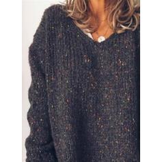 Impresión Cuello en V Casuales Suéteres