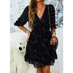 Print/Floral 3/4 Sleeves A-line Above Knee Casual Skater Dresses