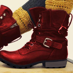 Kvinner PU Lav Hæl Stor Hæl Martin Boots med Spenne sko