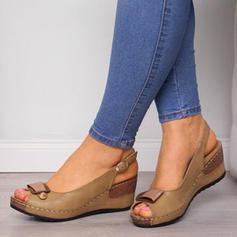 Women's PU Wedge Heel Sandals Wedges Peep Toe With Buckle shoes