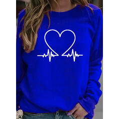 Print Heart Round Neck Long Sleeves Sweatshirt