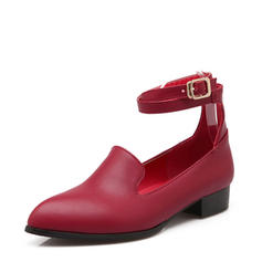 Women's Leatherette Low Heel Pumps Closed Toe With Buckle Others shoes