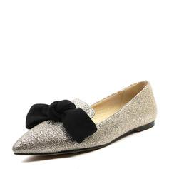 Femmes Pailletes scintillantes Talon plat Chaussures plates Bout fermé avec Bowknot chaussures