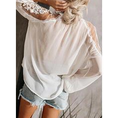 Solid Blonder V-hals Lange ermer Casual Elegant Bluser