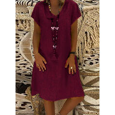 Solid Short Sleeves Shift Knee Length Casual/Vacation Dresses