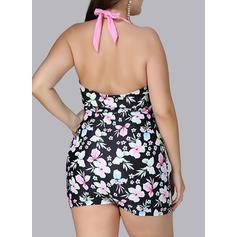 Floral Halter Fashionable Plus Size One-piece Swimsuits