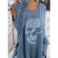 Sequins Cold Shoulder Long Sleeves Sweatshirt