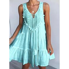 Lace/Solid Sleeveless Shift Above Knee Casual/Vacation Tank Dresses