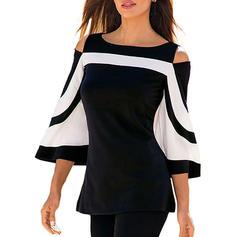 Bloque de color Cuello de Barco Mangas 3/4 Casual Elegante Blusas