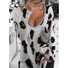leopardo Paillettes Scollatura a V Maniche lunghe Magliette
