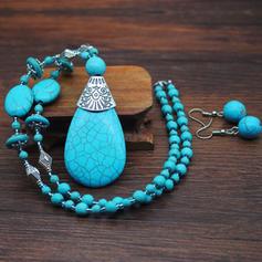 Beautiful Fashionable Exotic Alloy Turquoise Women's Jewelry Sets (Set of 2)