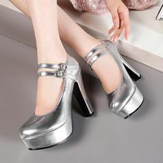 Femmes Similicuir Talon bottier Escarpins Plateforme avec Boucle chaussures