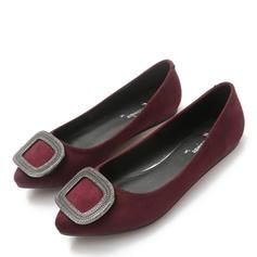 Femmes Suède Talon plat Chaussures plates Bout fermé avec Strass chaussures