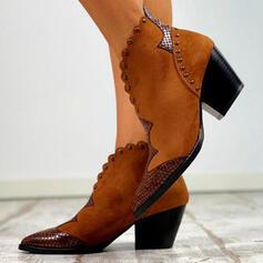 Femmes PU Talon bottier Bottes Bottines avec Rivet Boucle chaussures
