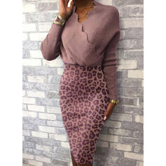 Leopard Long Sleeves Bodycon Knee Length Casual Sweater Dresses