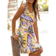 Estampado Sem mangas Bainha Comprimento do joelho Casual/Férias Vestidos