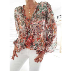 Print Floral V-Neck Lantern Sleeve Long Sleeves Casual Blouses