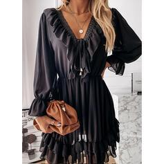 Jednolity Koronka Długie rękawy Sukienka Trapezowa Nad kolana Elegancki Łyżwiaż Sukienki